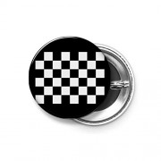Shopsmeade® Checkered Flag, Win, Winner, Chequered Flag, Racing Cars, Race, Finish Line, Black Round Pin Button Badge