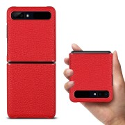 Litchi Texture Genuine Leather + TPU Phone Casing for Samsung Galaxy Z Flip - Red