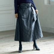 イギリス素材 シルク マップ柄 ジャカード タックスカート