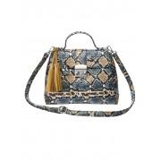 Turned Love Handtasche in Schlangenoptik, beige