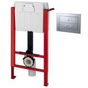 Rezervor WC ingropat/incastrat WIRQUIN PRO cu sistem de prindere si clapeta crom mat