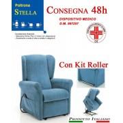 Il Benessere Poltrona Relax Stella completa di Alzapersona e Kit Roller 2 Motori Tessuto Lavabile Colore Blu Sfoderabile Consegna 48 Ore