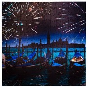 Mosaic Puzzles Wooden Jigsaw Puzzle - Fireworks Over The Grand Canal in Venice 204 Unique Pieces Challenge Any Lover from Ages 8 to 98 Made USA by Zen Art & Design