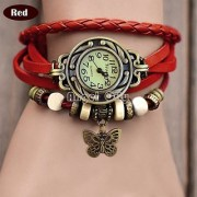 TRUE CHOICE NEW Red Leather Strap Watch Hand-knitted Leather watch women' watches Red