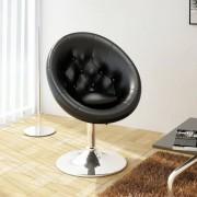 vidaXL Loungestoel Chesterfield kunstleer zwart