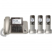 Telefono Fijo Panasonic Con 3 Extensiones Inalámbricaa KX-TGF353N-Champaña Oro