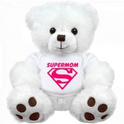 18 Inch White Teddy Bear wearing SUPERMOM Tshirt Plush Soft Toy