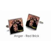 Tyler & Tyler Stencilart 7 Deadly Sins Red Brick Cufflinks Anger