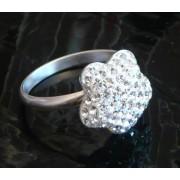 Stříbrný prsten květinka