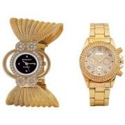 Keepkart Diamond Golden and Paidu Golden Analog Couple Watches for Men And Women