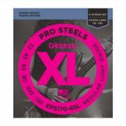 D'Addario Juego de 6 cuerdas para Bajo XL Pro Steels 30-130 30-45-65-80-100-130, EPS1706SL