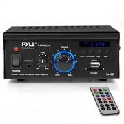 Pyle Home Audio Power Amplifier System 2x40W Dual Channel Mini Theater Power Stereo Sound Receiver Box w/USB, RCA, AUX, LED, Remote, 12V Adapter For Speaker, iPhone, Studio Use PCAU25A