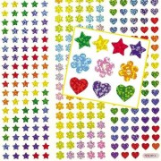 Baker Ross Mini Holographic Stickers - Pack of 348 Star, Heart & Flower stickers in 7 assorted colours. Size 8mm - 10mm.