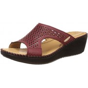 Dr. Scholls Women's Laser Mule Wedge Red Leather Slippers - 6 UK/India (39 EU)(7745916)