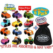 """Fisher-Price Little People Wheelies Vehicles Gift Set Blind Bundle with Exclusive """"Matty's Toy Stop"""" Storage Bag - 6 Pack (Assorted Styles)"""