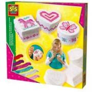 Детски комплект за декориране - Бродирай кутийка за бижута, SES, 080903