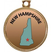 New Hampshire Award, 1 inch dia Gold Medal 'State Studies Collection' by Keepsake Awards