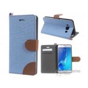 Husa piele artificiala si textil Gigapack pentru Samsung Galaxy J5 (2016) (SM-J510), albastru-maro