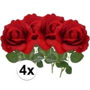 Bellatio flowers & plants 4x Kunstbloem roos Carol rood 37 cm