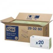 Essity Professional Hygiene Germany GmbH Tork Papierhandtücher H3 Advanced, 2-lagig, Lagenfalz, reiß- und nassfest, 24,8 x 10 cm, 1 Paket = 20 Bündel x 120 = 2.400 Tücher, grün