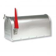US mailbox with pivotable flag, aluminium
