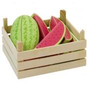Geen Houten fruitkist met watermeloenen
