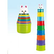 Pepperonz Rainbow Stacking Nesting Cups Game Baby Building Play Set with Printed Animal Characters, 8 Different Color Cups and 1 Cute Rabbit Topper