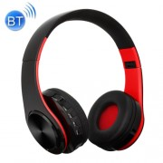 BTH-818 Headband Folding Stereo Wireless Bluetooth Headphone Headset Support 3.5mm Audio Input & Hands-free Call & & TF Card & FM Function for iPhone iPad iPod Samsung HTC Sony Huawei Xiaomi and other Audio Devices (Black+Red)