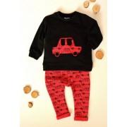 K-Baby Sada triko/mikinka + tepláčky Auto - černá/červená, vel. 74
