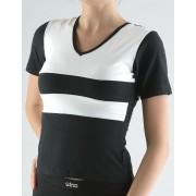 GINA Tričko s krátkým rukávem kombinace barev a paspule 98003-MxCMxB Černá-bílá L