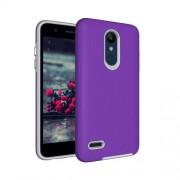 Anti-slip Armor Texture TPU + PC Case for LG K10 (2018)(Purple)