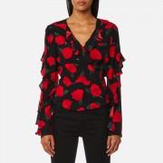 Guess Women's Long Sleeve Antonietta Top - Sensual Roses - XS - Multi
