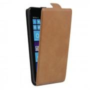 Up-down flip protector de piel PU para NOKIA lumia 535 - marron