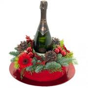 Rood kerst arrangement met bubbels