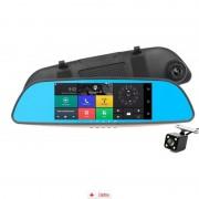 Camera Auto Oglinda Zenteko Full HD SM402 cu Android, GPS, Touchscreen, 3G + MicroSD 32 Gb, Tripla Bricheta