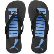 Puma Men's Black and Blue Printed Flip-Flops