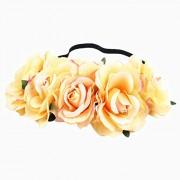 Leoie Artificial Flower Garland Rose Love Shape Wreath Headband Silk Rose for Wedding Party Home Car Decor Colored Yellow