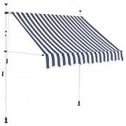 vidaXL Ručne zaťahovacia markíza, 150 cm, modro-biele pásiky