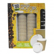 150 Double Insulated 295ml/354ml Disposable Strong Coffee/Tea Cups & Sip Lids - 10Oz/295ml