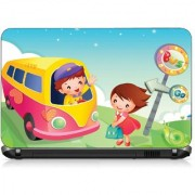 VI Collections BOY TRAVEL IN BUS CARTOON pvc Laptop Decal 15.6