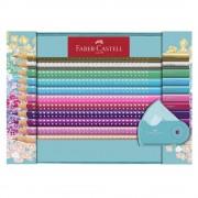 Set cadou 20 creioane colorate Faber-Castell Sparkle + ascutitoare Sleeve