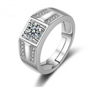 Limited Edition Sterling Silver Cubic Zirconia Solitaire Adjustable Mens Rings DC- 111