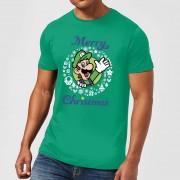 Nintendo Super Mario Luigi Merry Christmas Witte Kerstkrans Heren T-shirt - Groen - S - Groen