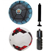 Combo of FCB Blue + Premier League Red/Purple Football (Size-5) with Air Pump & Sipper