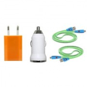 (Tricolor combo No 9 ) 4 in 1 combo of Usb Adopter car charger and 2 Charging Data Cables by KSJ