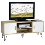 IDIMEX Meuble TV EVA, blanc et chêne sonoma