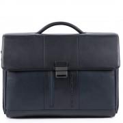 Piquadro Cartella in Pelle Blu Porta pc 15,6 e iPad - CA1045UB00 Linea Urban