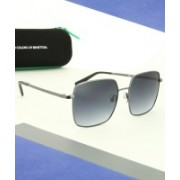 United Colors of Benetton Retro Square Sunglasses(Blue)