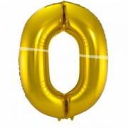 0. szám, fólia lufi, 86 cm, arany
