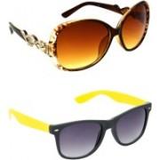 Hrinkar Over-sized Sunglasses(Brown, Grey)